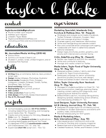 2017 Taylor Blake Resume - Black and White