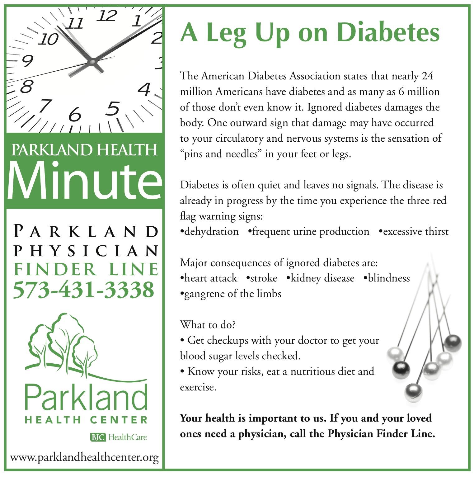 Health minute ad describing diabetes prevention techniques.
