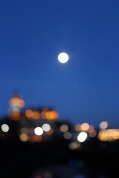 Bokeh shot of Edinburgh, Scotland, at night.