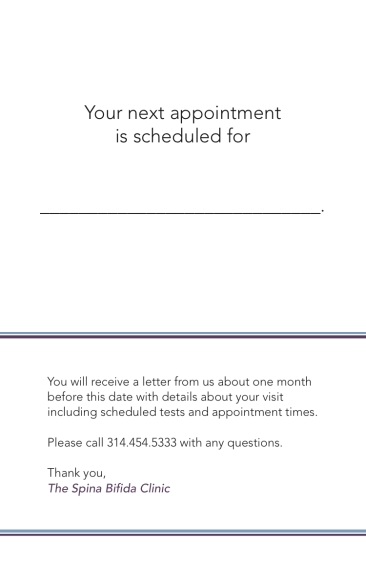 Spina Bifida Appointment Reminder Card A-Inside