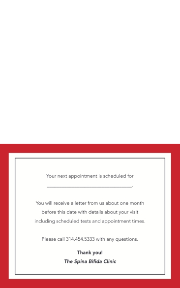 Spina Bifida Appointment Reminder Card B-Inside