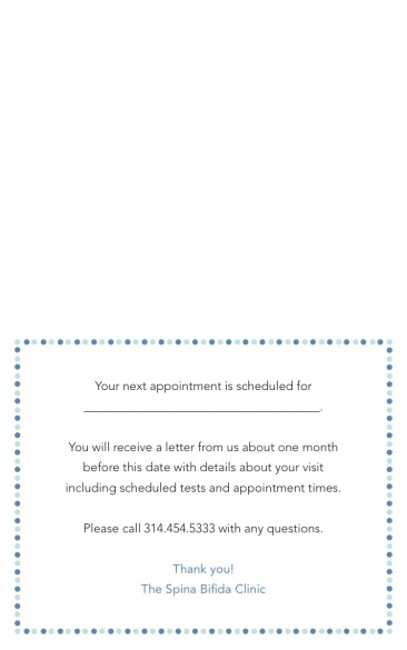 Spina Bifida Appointment Reminder Card C-Inside