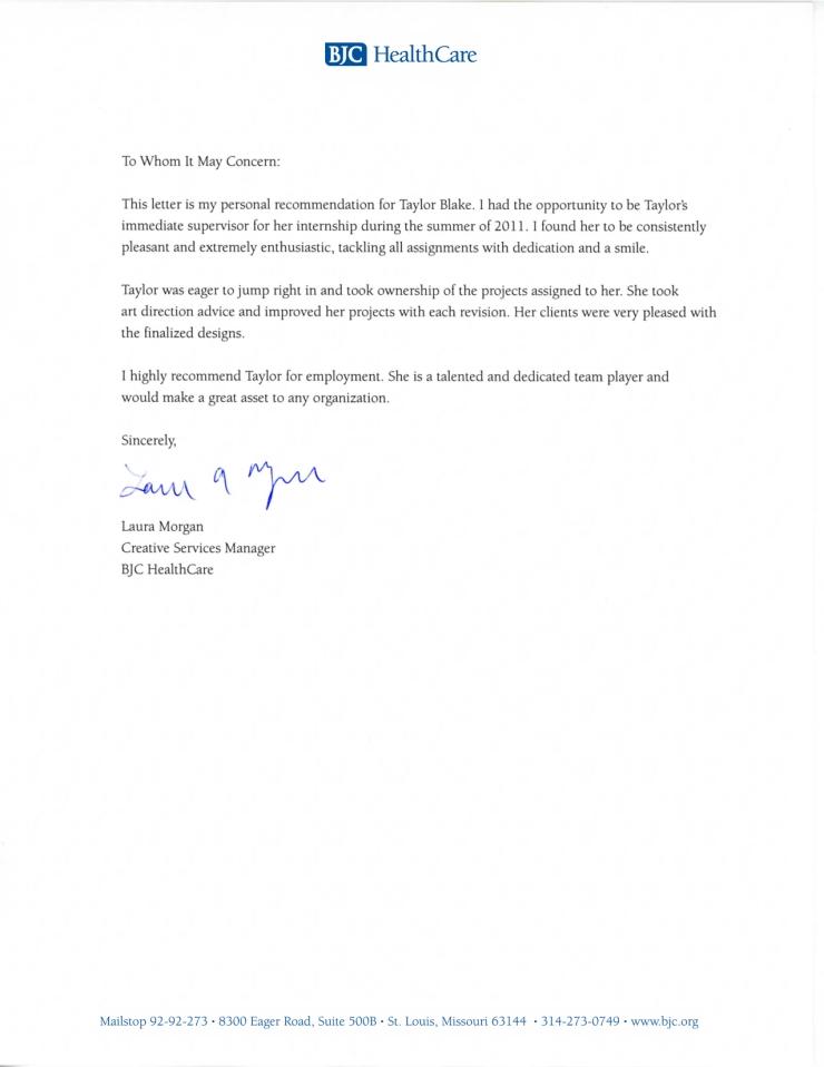 Recommendation Letter: Laura Morgan