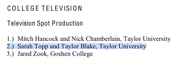 2013 College TV Winners