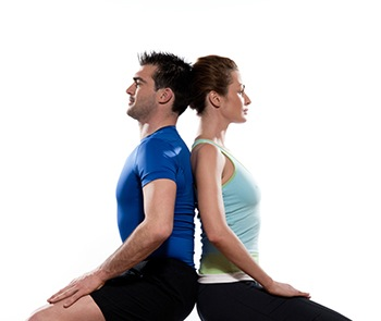 Couple doing a workout to improve posture