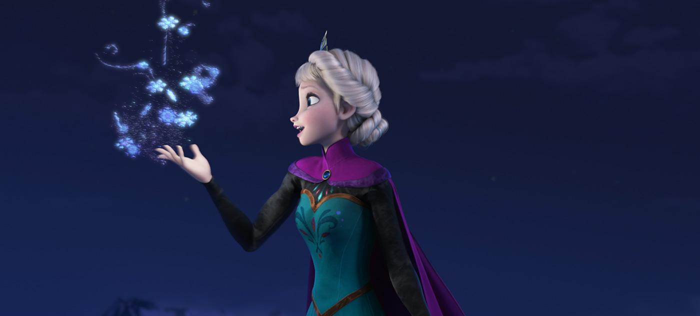 Elsa performing magic in Frozen