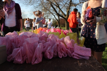 Bags were filled with colored powder and sold for a dollar each. The profits were donated to St. Martin's Community Center in Marion, Ind.