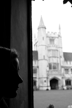 Silhouette of a girl at Oxford University.