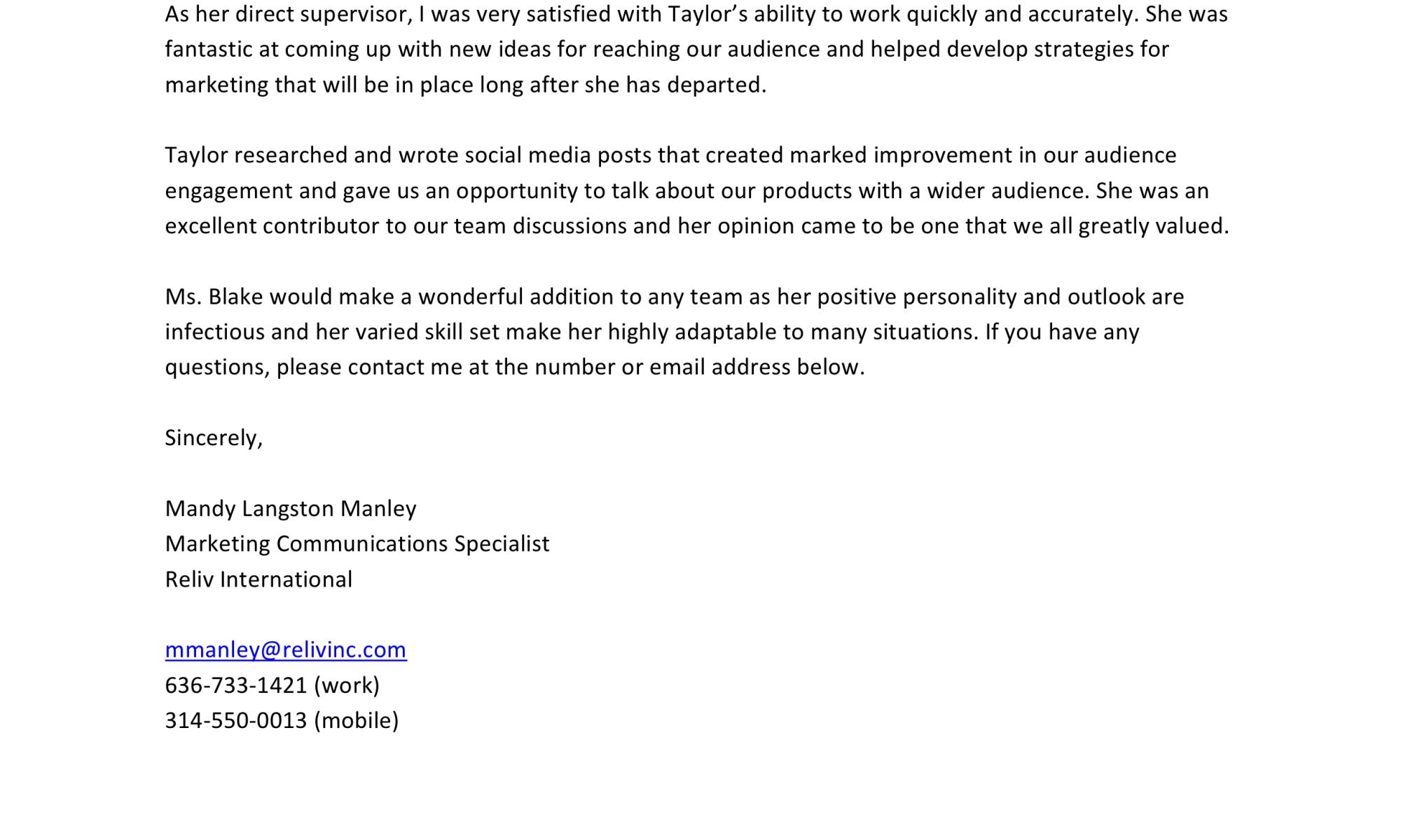 Recommendation letter for Taylor Blake from Mandy Manley, Marketing Communications Specialist for Reliv International.