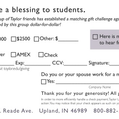 Back of mailer. A response card that allows recipients to donate to the Taylor Fund.