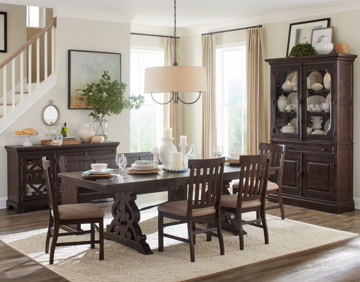 Picture of rustic dining set, including dining table, chairs, buffet, and china cabinet